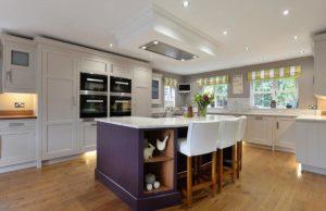 modern kitchen with purple island