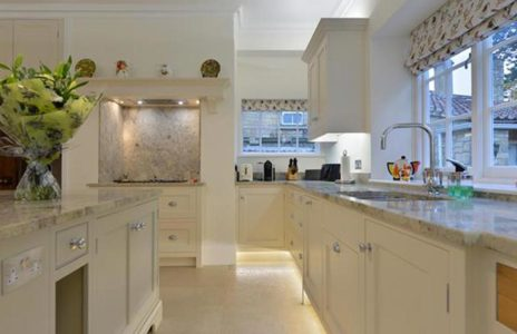 fitted kitchen with marble worktops