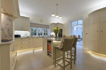 cosy kitchen with white cupboards and island