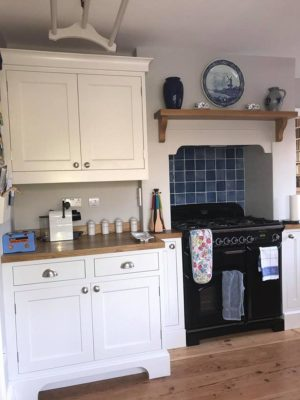 fitted kitchen with white cupboards