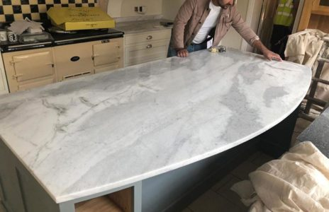 white marble effect fitted kitchen worktop