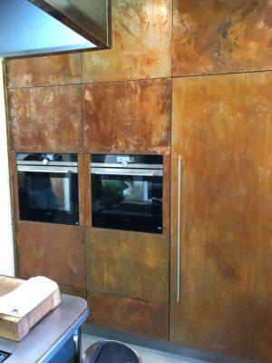 aged wood fitted kitchen storage