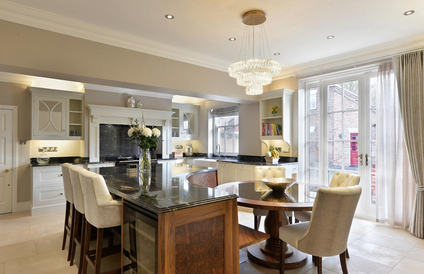 bespoke kitchen with round table and island