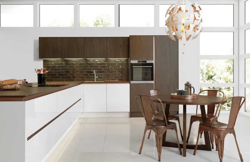Fitted kitchen with sleek work surfaces