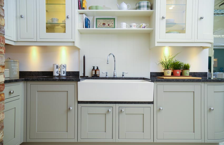 country kitchen with sage cupboards