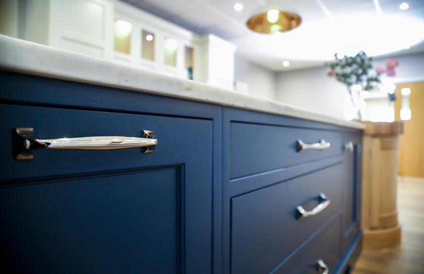 dark blue kitchen cupboards