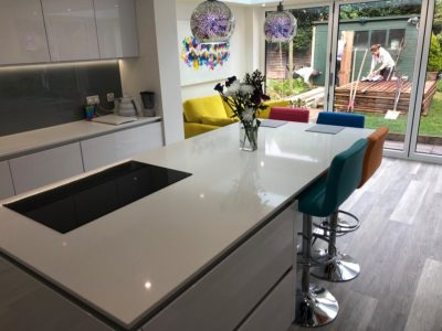 Colourful fitted kitchen