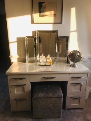 modern dressing table with glass surface